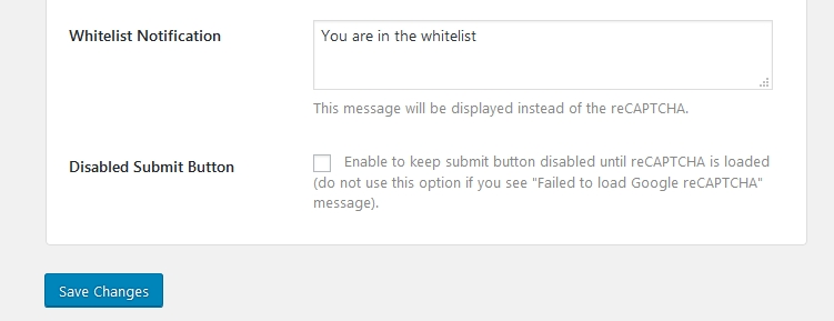 Google Captcha Whitelist NotificationとDisabled Submit Button